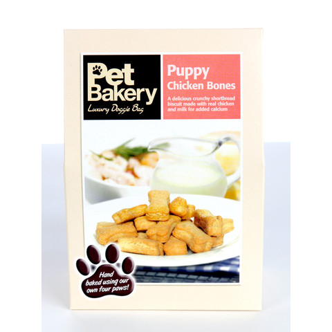 Pet Bakery Puppy Chicken Bones Shortbread Dog Treats 240g