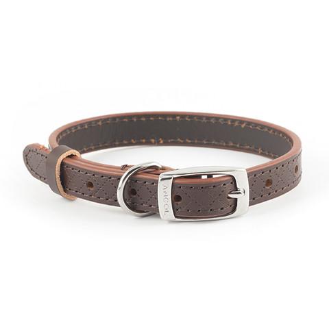 Ancol Heritage Diamond Leather Brown Buckle Dog Collar Small