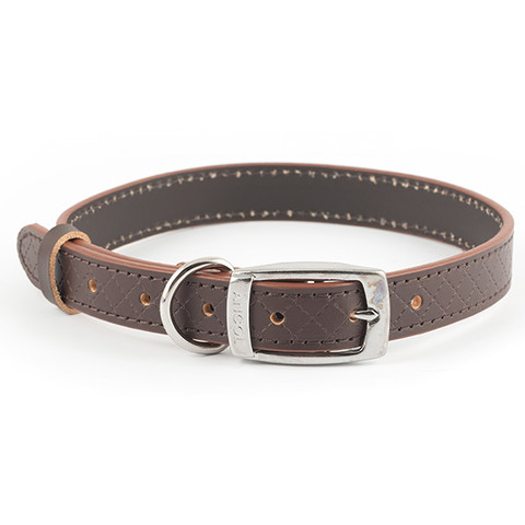 Ancol Heritage Diamond Leather Brown Buckle Dog Collar Medium