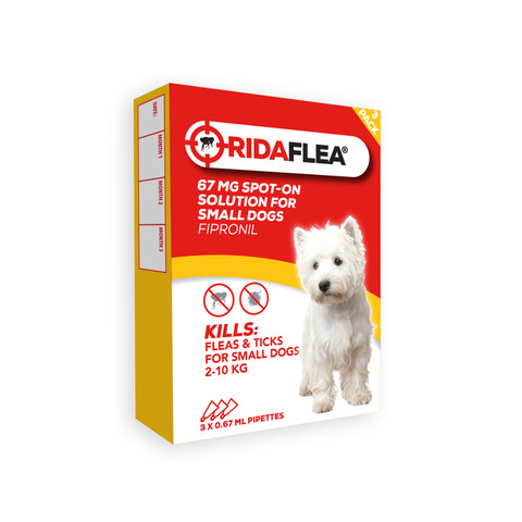 Ridaflea Spot-on Solution Dog 67mg For Small Dogs And Puppies 2-10kg 3 Pipette