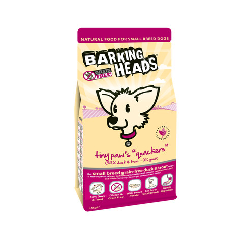 Barking Head Tiny Paws Quackers Grain Free Small Breed Adult Dog Food 1.5kg