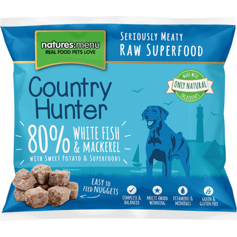 Natures Menu Country Hunter Frozen Raw White Fish And Mackerel Dog Food Nuggets 1kg