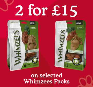 2 for £15 on selected Whimzees packs