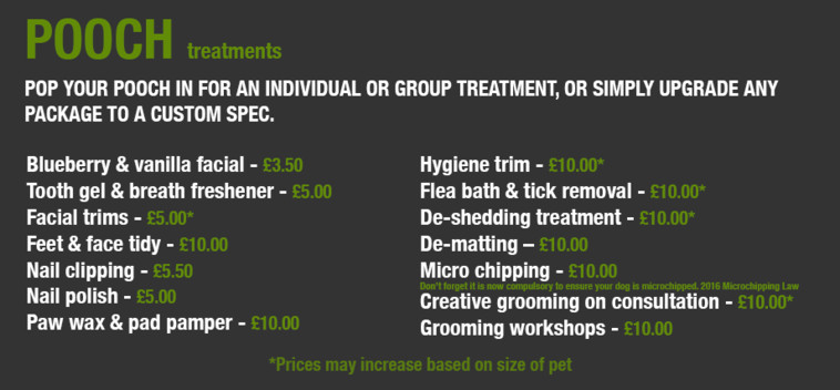Pamper Treatment Menu