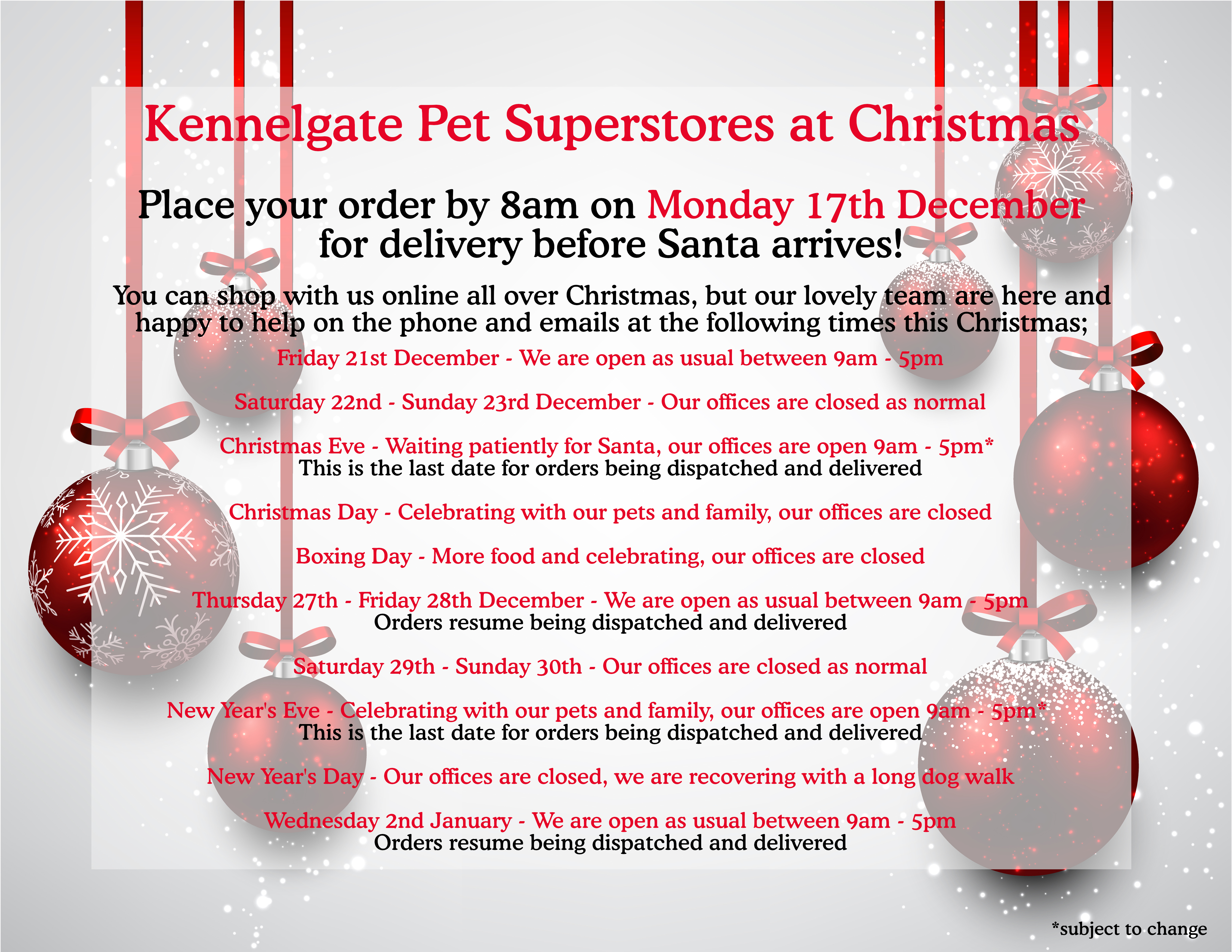 adc795c66c1c Kennelgate Pet Superstores Customer Service Team Christmas Opening Times   Delivery  Information