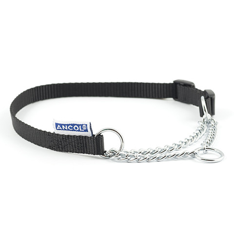 Ancol Heritage Nylon And Chain Check Black Dog Collar 25-35cm To 55-75cm