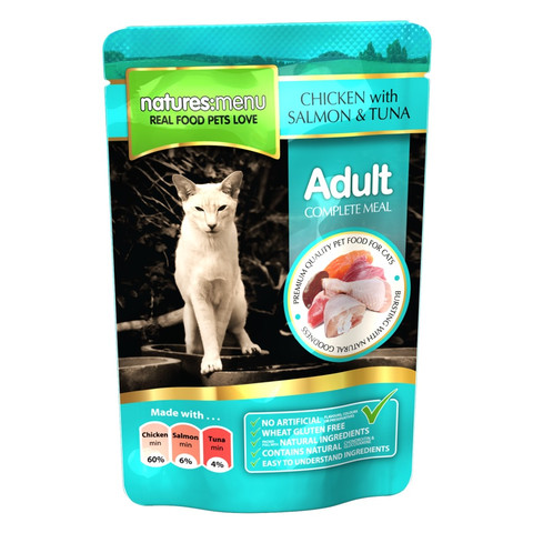 Natures Menu Adult Cat Pouch With Chicken, Salmon And Tuna 12 X 100g