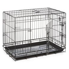 Dog Life Dog Crate Double Door Black Medium 30in