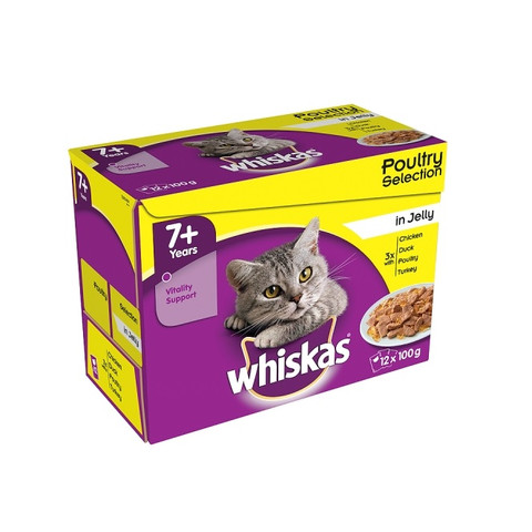 Whiskas Senior 7+ Cat Pouches Poultry Selection In Jelly 12x100g