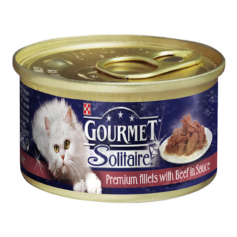 Gourmet Solitaire Cat Food With Beef And Tomato 85g To 12 X 85g