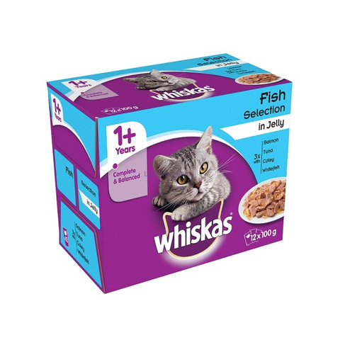Whiskas Adult 1+ Cat Pouches Fish Selection In Jelly 12x100g