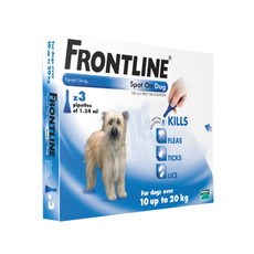 Frontline Spot On Flea Drops For Medium Dogs And Puppies (10-20kg) 3 Pipette