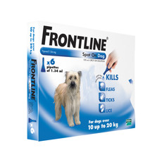 Frontline Spot On Flea Drops For Medium Dogs And Puppies (10-20kg) 6 Pipette