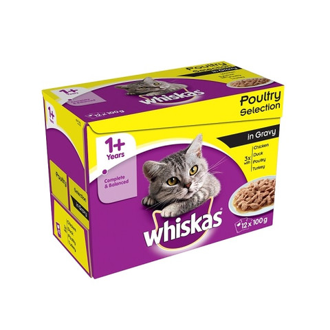 Whiskas Adult 1+ Cat Pouches Poultry Selection In Gravy 12x100g