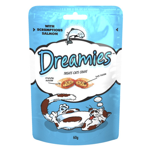 Dreamies Pouch Cat Treat With Scrumptious Salmon 8 X 60g To 60g