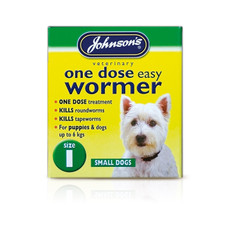 Johnsons One Dose Wormer For Small Dogs Size 1 To 6 X Size 1