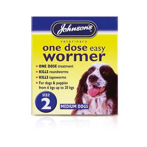Johnsons One Dose Wormer For Medium Dogs Size 2 To 6 X Size 2