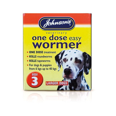 Johnsons One Dose Wormer For Large Dogs Size 3 To 6 X Size 3