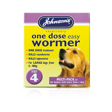 Johnsons One Dose Wormer For Larger Dogs Size 4 To 3 X Size 4