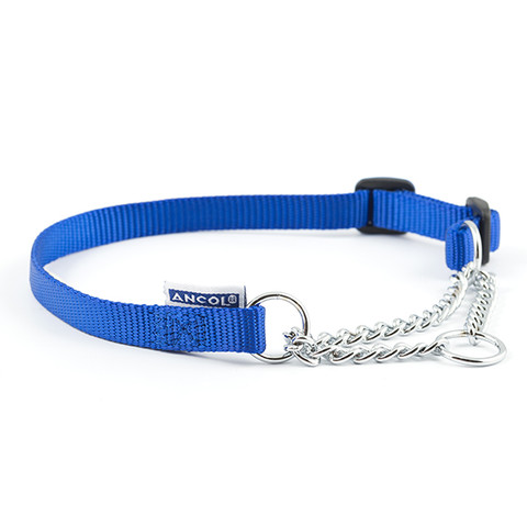 Ancol Heritage Nylon And Chain Check Blue Dog Collar 25-35cm To 55-75cm