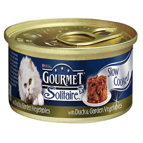 Gourmet Solitaire Cat Food With Duck In Sauce 85g To 12 X 85g