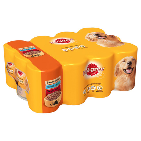 Pedigree Adult Dog Food Tins Mixed Meat Selection In Jelly 12x385g To 2 X 12x385g