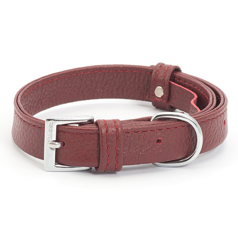 Ancol Indulgence Folded Leather Red Buckle Dog Collar X Small