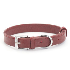 Ancol Indulgence Folded Leather Red Buckle Dog Collar Medium