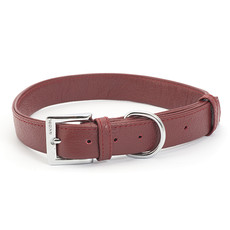 Ancol Indulgence Folded Leather Red Buckle Dog Collar Large