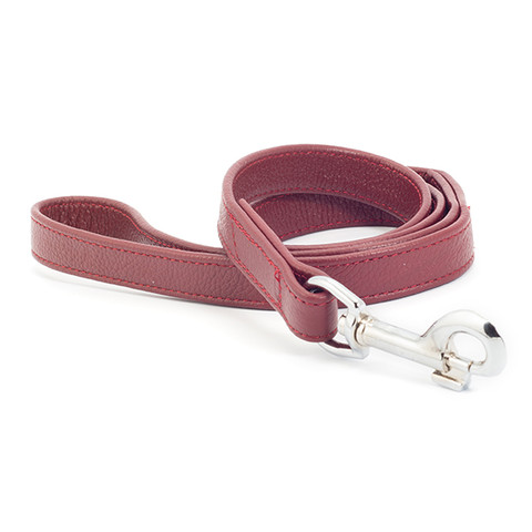 Ancol Indulgence Folded Leather Red Dog Lead 1m X 19mm