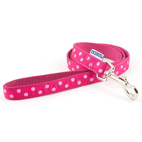 Ancol Indulgence Fashion Vintage Raspberry Pink Polka Dot Dog Lead 1m X 19mm