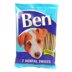 Ben Dental Twist Dog Treats With Pumice And Peppermint 180g