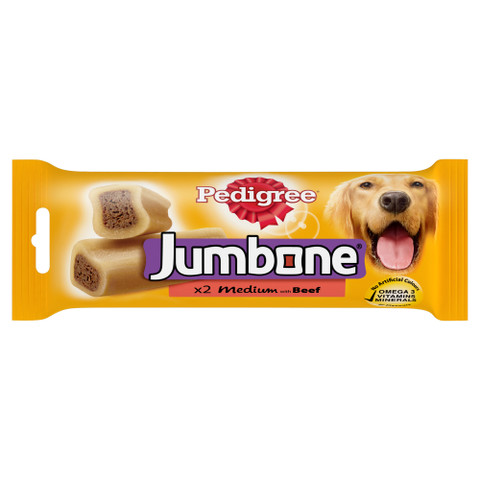 Pedigree Jumbone Medium Dog Treats With Beef 2 Pack