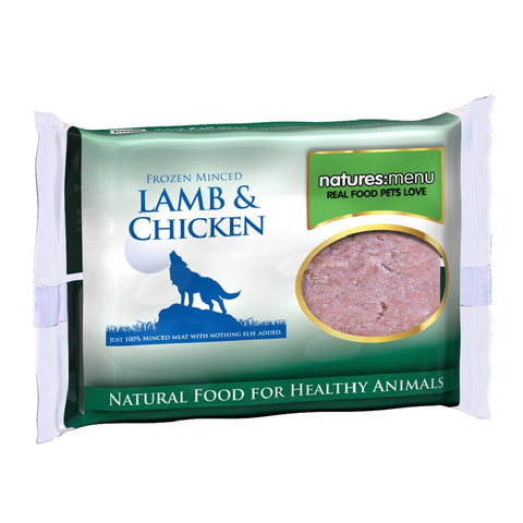 Natures Menu Minced Frozen Dog Food With Lamb And Chicken 400g To 12 X 400g