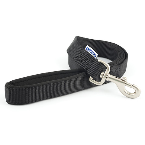 Ancol Heritage Padded Nylon Cushion Black Dog Lead 1.8mx25mm