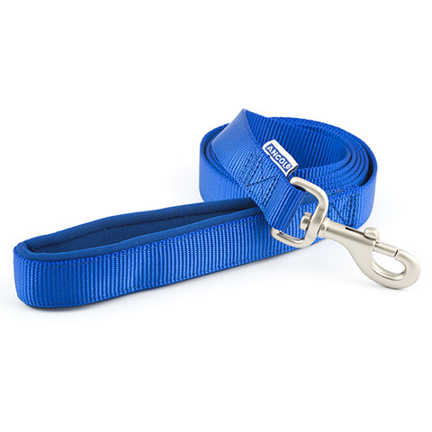 Ancol Heritage Padded Nylon Cushion Blue Dog Lead 1.8mx25mm