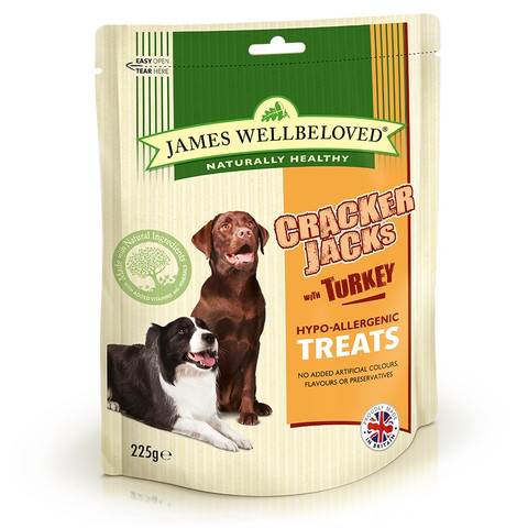 James Wellbeloved Turkey And Rice Crackerjacks Dog Treats 225g