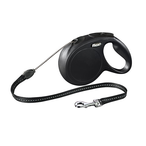 Flexi Classic Retractable Cord Dog Lead Black - 8 Metres Small To Medium