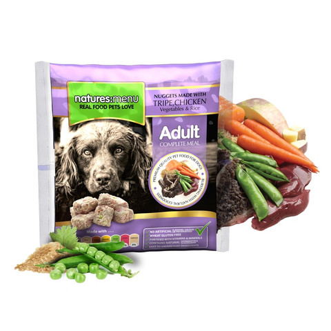 Natures Menu Frozen Dog Food Nuggets With Tripe And Chicken 1kg