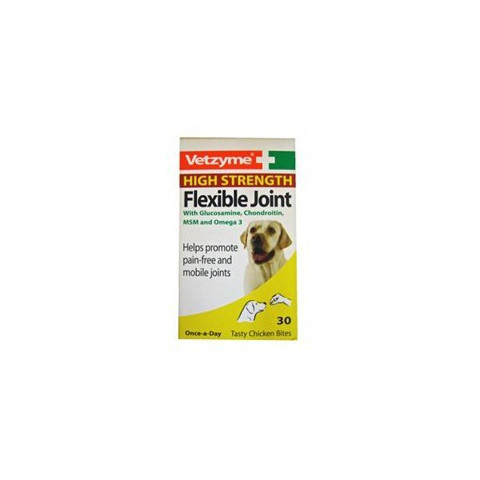 Vetzyme High Strength Flexible Joint Supplement Tablets For Dogs 30 Tabs To 3 X 30 Tabs