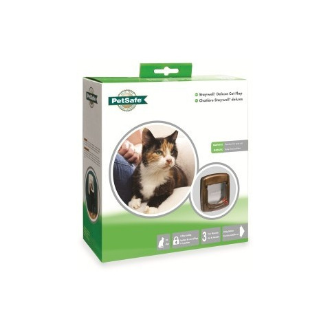 Staywell Manual 4 Way Locking Deluxe 320 Cat Flap In Woodgrain Small