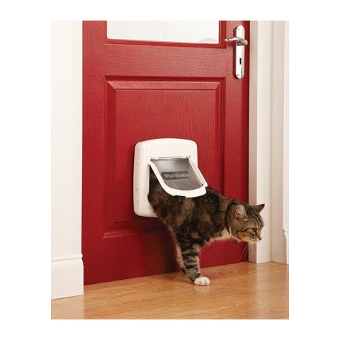 Staywell Magnetic 4 Way Locking Deluxe 400 Cat Flap In White