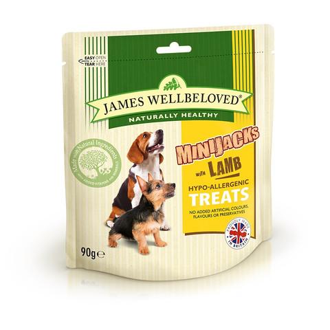 James Wellbeloved Lamb And Rice Minijacks Dog Treats 90g