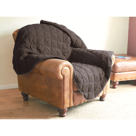 Ancol Brown Quilted Chair Throw 145x145cm
