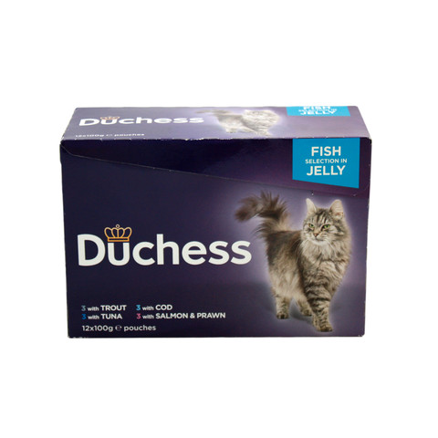 Duchess Adult Cat Pouches Fish In Jelly 12x100g To 4 X 12x100g
