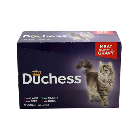 Duchess Adult Cat Pouches Meat In Gravy 12x100g To 4 X 12x100g