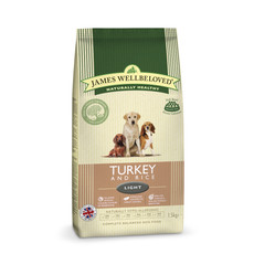 James Wellbeloved Adult Light With Turkey And Rice 1.5kg To 12.5kg
