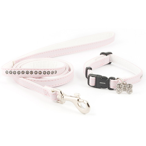 Ancol Small Bite Deluxe Jewel Light Pink Adjustable Collar And Lead Set  To 3 X