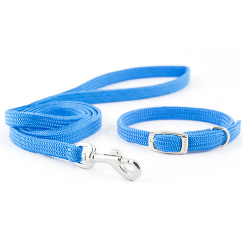 Ancol Small Bite Blue Softweave Adjustable Collar And Lead Set  To 3 X