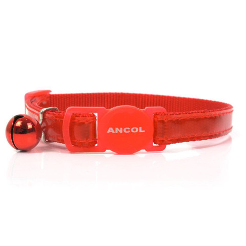 Ancol Reflective Red Gloss Cat Collar  To 3 X